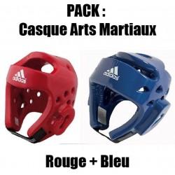 Pack Casque arts martiaux Adidas Rouge + Bleu