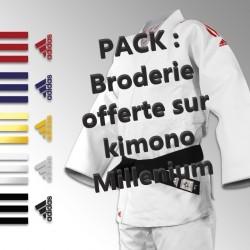 Pack Broderie offerte sur Judogi Millenium avec bandes brodées